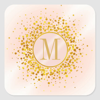 Confetti Monogram Rose Gold Foil ID445 スクエアシール
