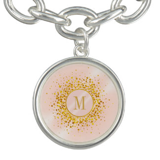 Confetti Monogram Rose Gold Foil ID445 チャームブレス