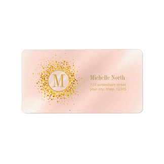 Confetti Monogram Rose Gold Foil ID445 ラベル