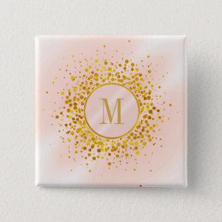 Confetti Monogram Rose Gold Foil ID445 5.1cm 正方形バッジ