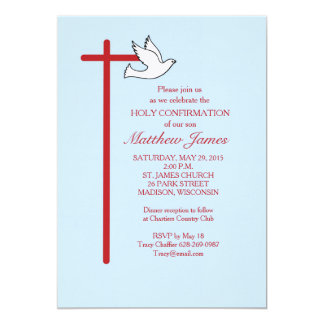 Confirmation Invitation Red Cross & Dove, Lt Blue カード