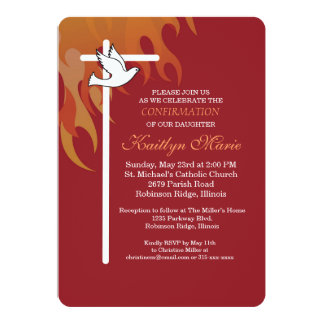 Confirmation Invitation White Cross & Dove on Red カード