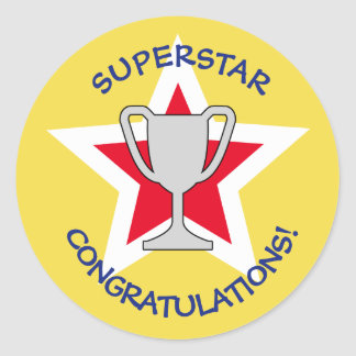 Congratulations star trophy yellow ラウンドシール
