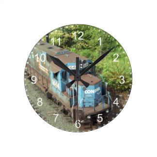 Conrailのディーゼル機関車#1644 GP-15-1の柱時計 ラウンド壁時計