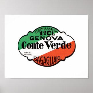 Conte Verdeの手荷物のラベル ポスター