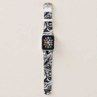 Cool Black and White Liquid Digital Art Apple Watchバンド