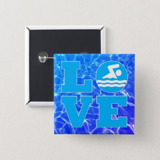 Cool Blue Pool Water Swim LOVE Coach or Instructor 5.1cm 正方形バッジ