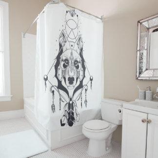 cool dog design art シャワーカーテン