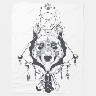 cool dog design art フリースブランケット