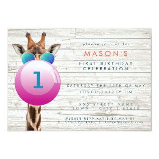 Cool Giraffe and Bubblegum | Party Invitation カード