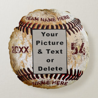 Cool Photo and Personalized Baseball Pillow ラウンドクッション