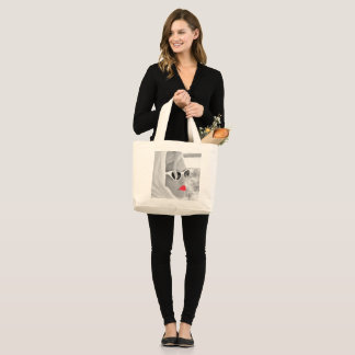 Cool Retro Jumbo Lady Face Graphic Tote For Shop ラージトートバッグ