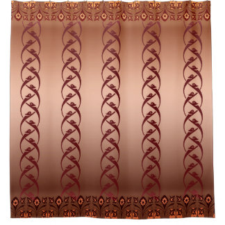Coppertoneの東洋の花柄のシャワー・カーテン シャワーカーテン