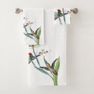 Coquetteのハチドリの鳥の花のBathタオルセット バスタオルセット