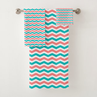 Coral and Teal Chevron バスタオルセット