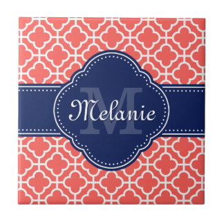 Coral and Wht Moroccan Pattern Navy Monogram タイル