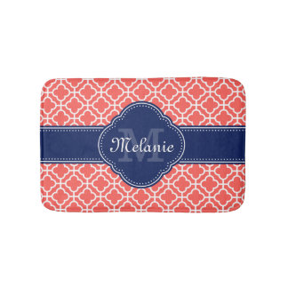 Coral and Wht Moroccan Pattern Navy Monogram バスマット