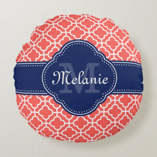 Coral and Wht Moroccan Pattern Navy Monogram ラウンドクッション