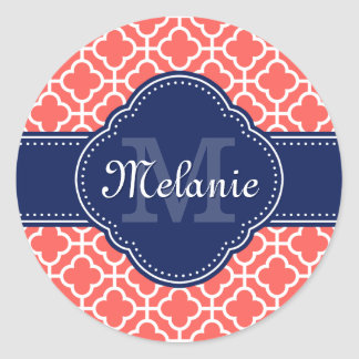 Coral and Wht Moroccan Pattern Navy Monogram ラウンドシール