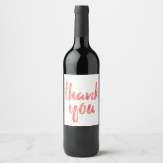 Coral foil thank you wine labels ワインラベル