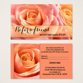 Coral Roses Referral Tell A Friend Business Card 名刺
