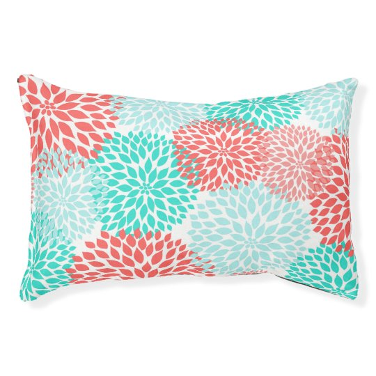 Coral Teal Dahlias dog pillow, dog bed