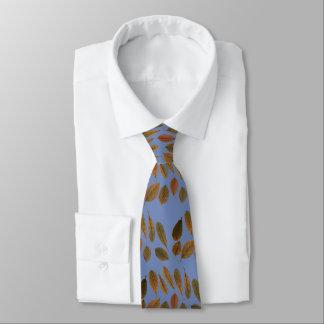 Corbata azul con hojas secas de otoño marrones ネクタイ