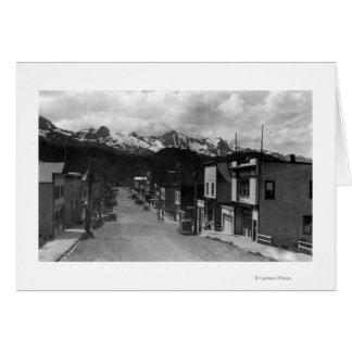 Cordovaのアラスカの写真の町の眺め カード