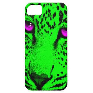 Coreyのトラ80sのネオンヒョウの顔(緑) iPhone SE/5/5s ケース