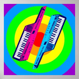 Coreyのトラ80sのレトロのヴィンテージKeytar Synth ポスター