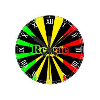 Cori Reithのラスタのレゲエのラスタ ラウンド壁時計