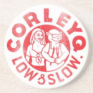 CorleyQのロゴの砂岩コースター コースター