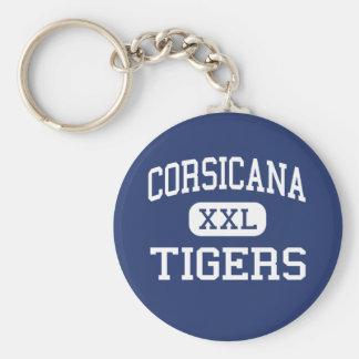 Corsicana -トラ-高等学校- Corsicanaテキサス州 ベーシック丸型缶キーホルダー