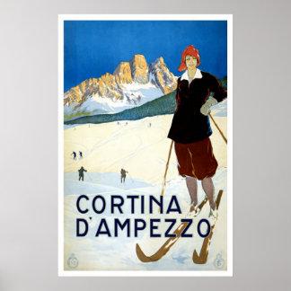 """Cortina d'Ampezzo""のヴィンテージ旅行ポスター ポスター"