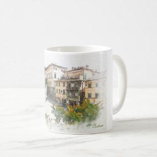 Cortona。 イタリア。 タスカニー コーヒーマグカップ