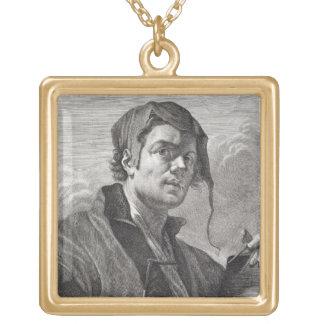 Cosi著刻まれるゲリットvan Honthorst (1590-1656年) ゴールドプレートネックレス