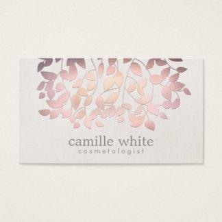 Cosmetology模造のなピンクホイルの葉のリネン一見 名刺