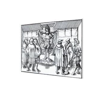 「Cosmograの木版画の後の男爵の裁判所、 キャンバスプリント