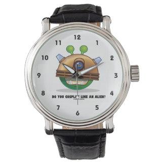 Cosplayエイリアンを好みますか。 緑の外国の顔 腕時計