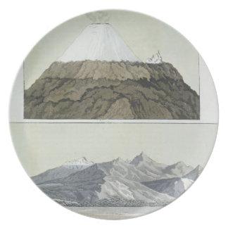 Cotopaxi (上)の頂上、およびCotoの噴火 プレート