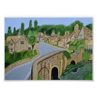 Cotswoldの英国の村の写真 フォトプリント