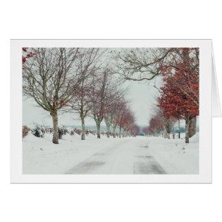 Cotswoldの雪場面のクリスマスカード カード