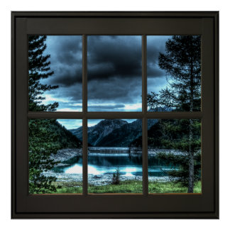 Cottage View Faux Window Illusion 24x24 Black ポスター