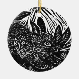 Cottontailウサギ-ブロックプリント セラミックオーナメント