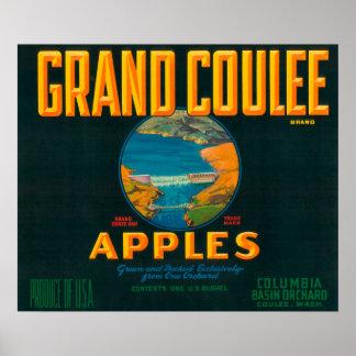 Coulee壮大なAppleのラベル- Coulee、WA ポスター
