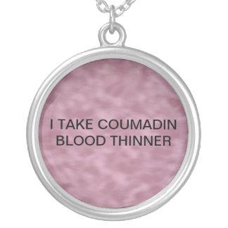 COUMADINのための医学警報 シルバープレートネックレス