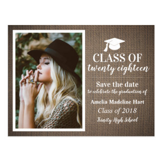 Country Burlap Class Of 2018 | Save The Date Photo ポストカード