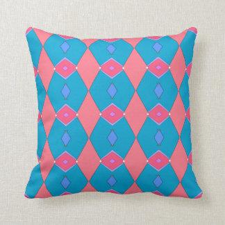Coussin décoratif, bleu céruléen et rose, Losanges クッション