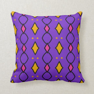 Coussin décoratif carré, coloré, violet à losanges クッション