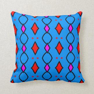 Coussin décoratif coloré, bleu brillant à losanges クッション